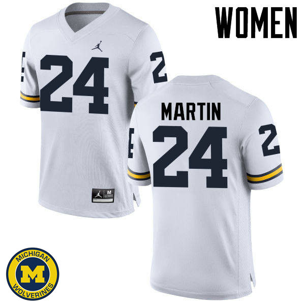 Women Michigan Wolverines #24 Jake Martin College Football Jerseys Sale-White